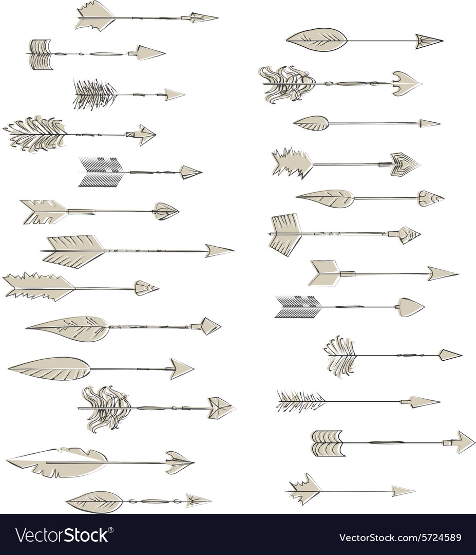 Hand drawn arrows collection Doodle ethnic indian