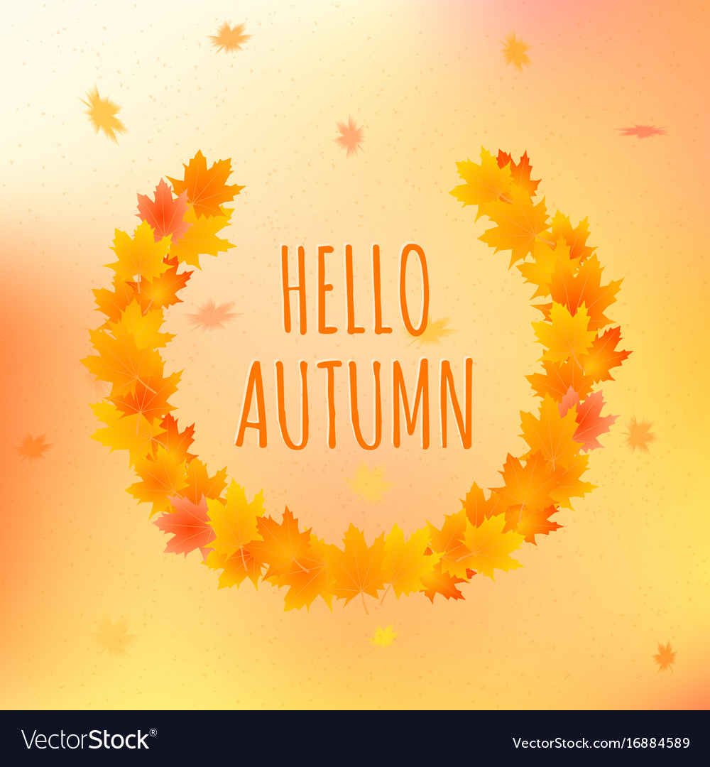 Hello autumn card with text