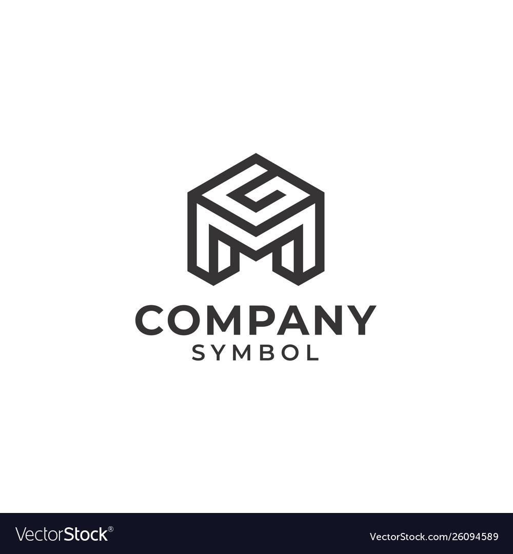 Initial monogram letter mg gm logo design