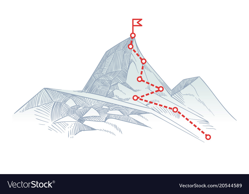 Mountain climbing route to peak business journey vector image