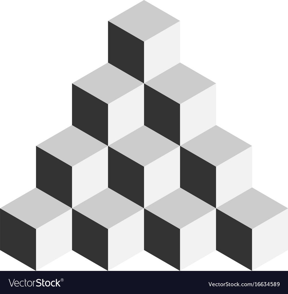 Pyramid of cubes 3d isolated Royalty Free Vector Image
