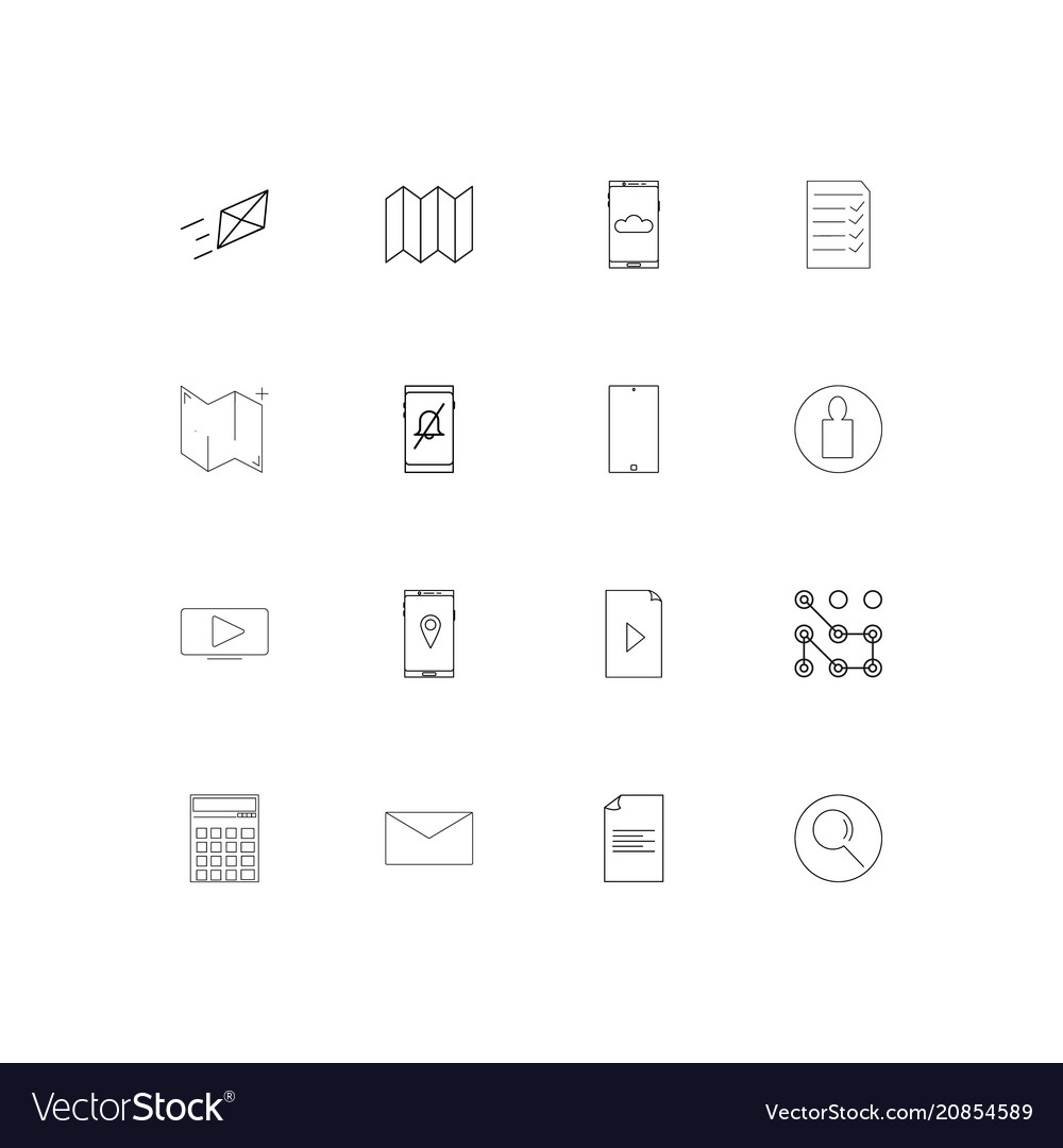Web linear thin icons set outlined simple icons