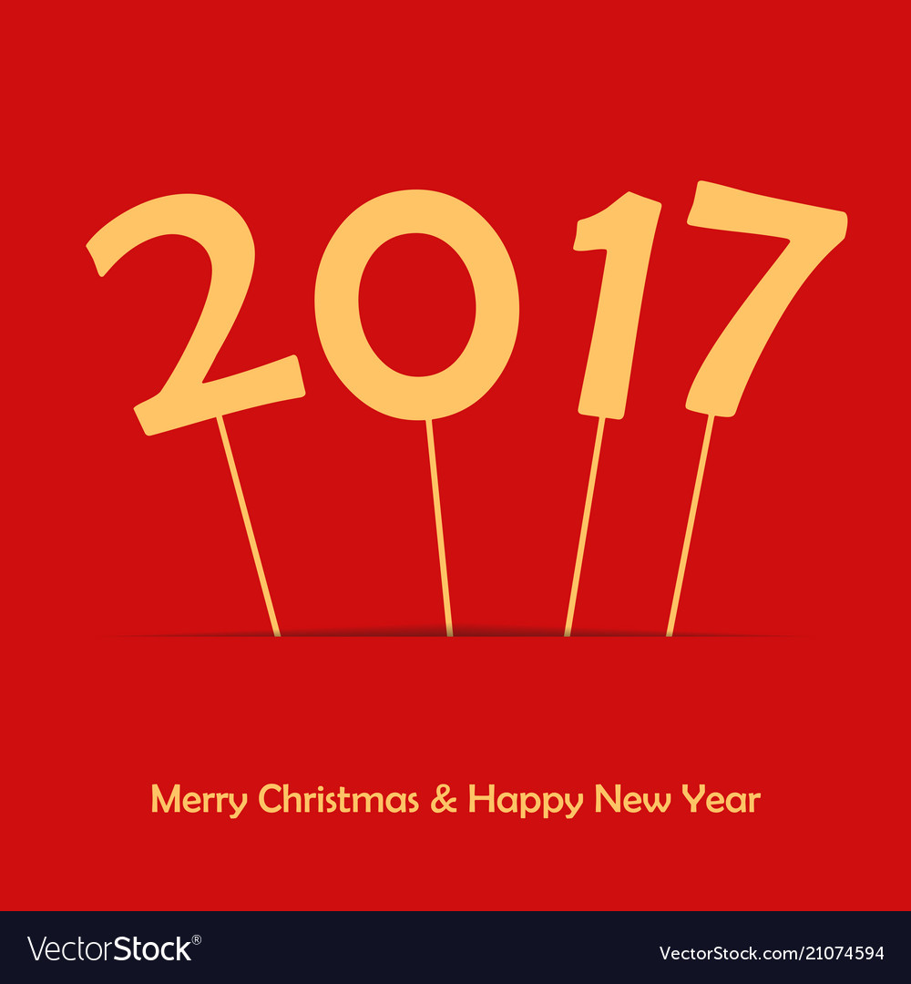 2017 on stick happy new year and merry christmas