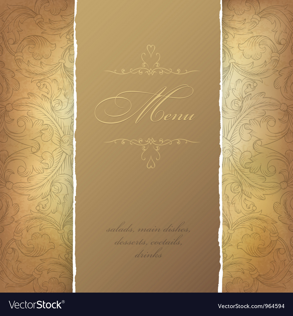 Aged menu template vector image