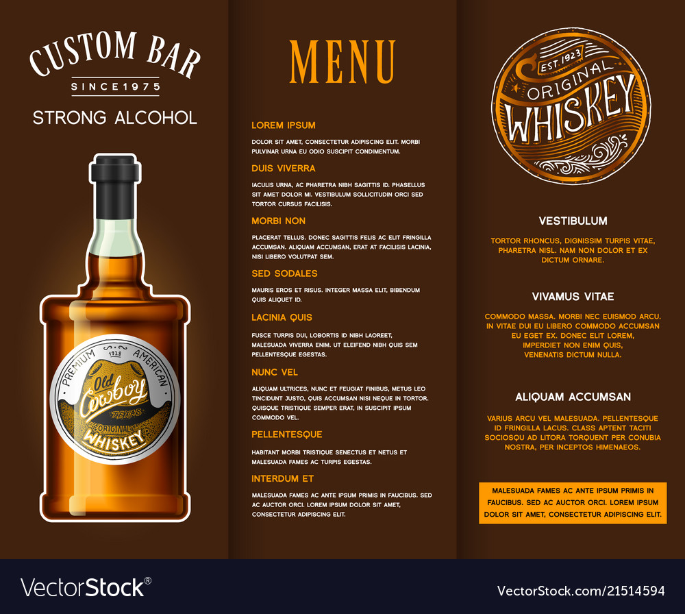 Alcohol drink in a bottle banner or brochure with