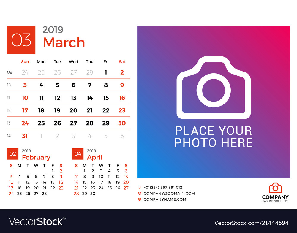 Calendar For March 2019 Design Print Template