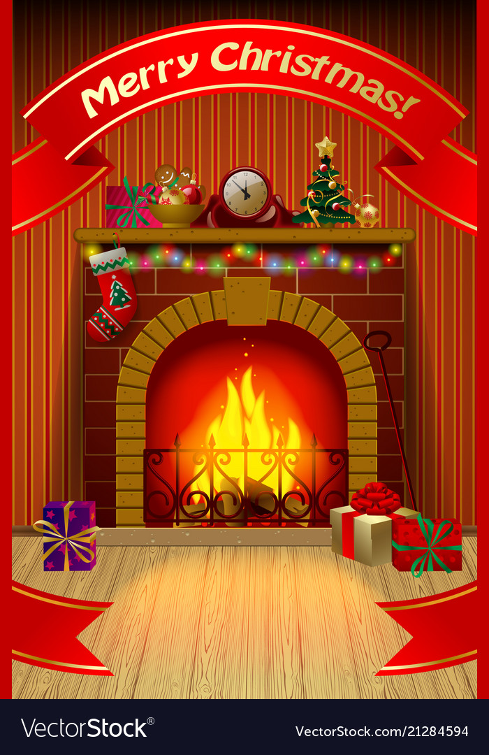 Fireplace Christmas.Christmas Card With Red Ribbon Fireplace In