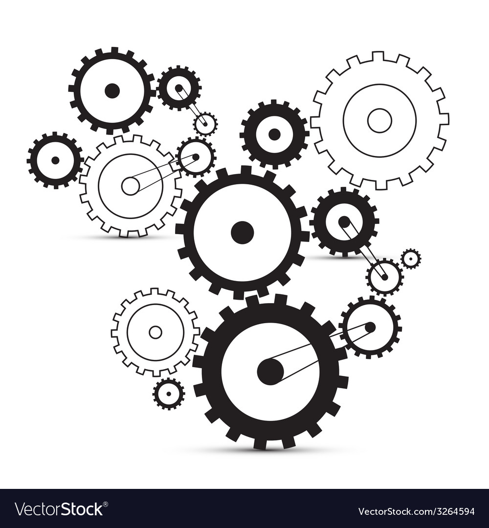Cogs - gears on white background vector image