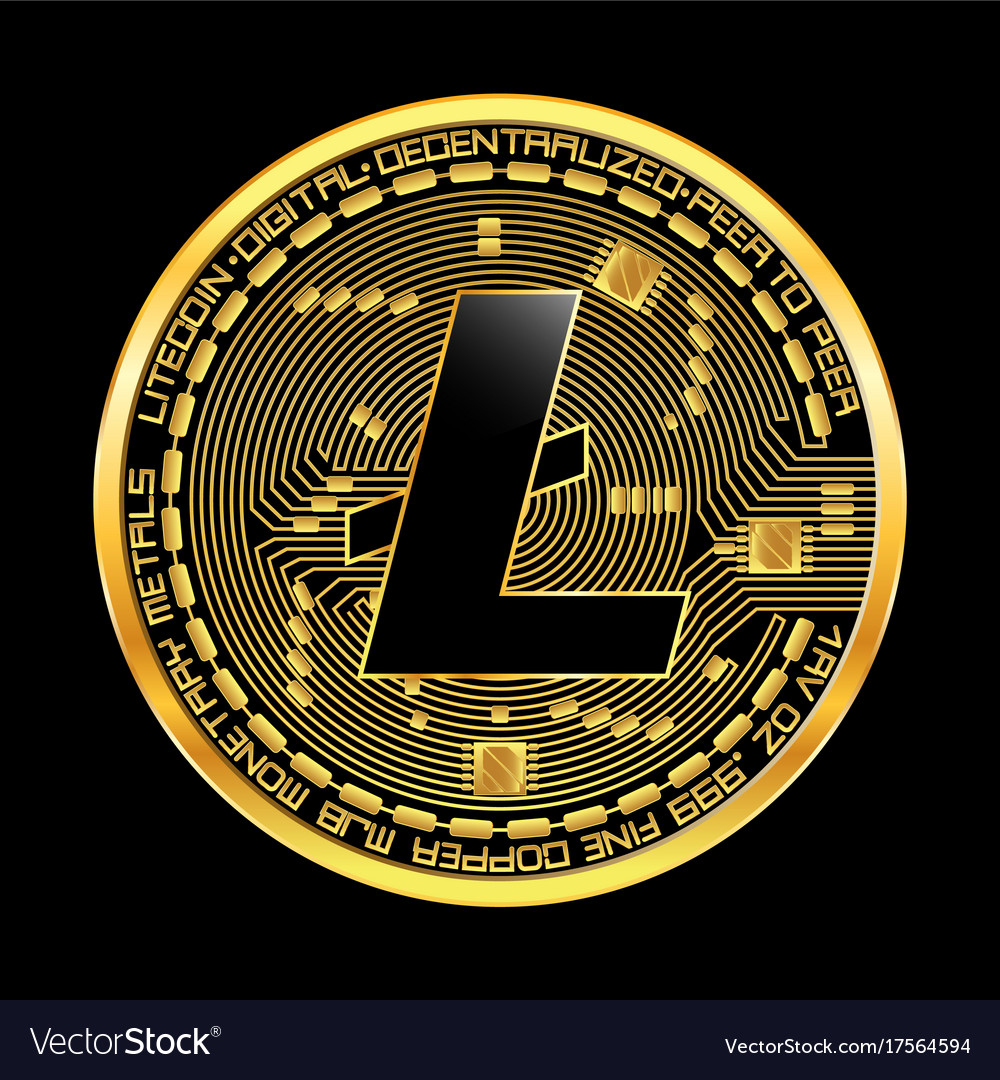 Crypto Currency Litecoin Golden Symbol Royalty Free Vector
