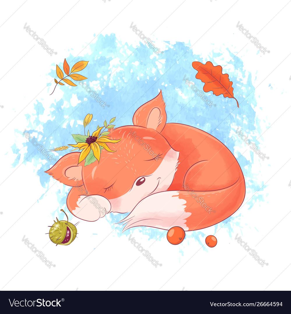 Cute cartoon fox is sleeping autumn leaves