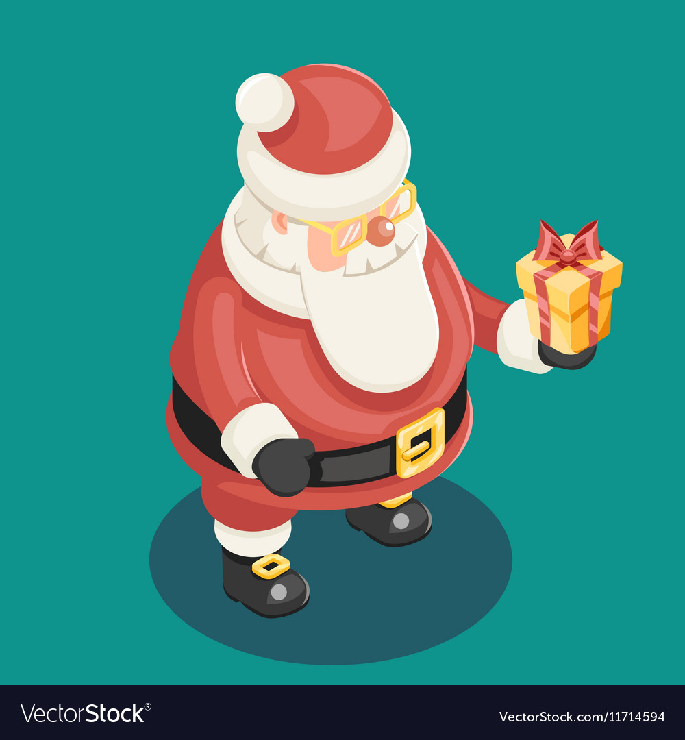 Cute Isometric 3d Christmas Santa Claus