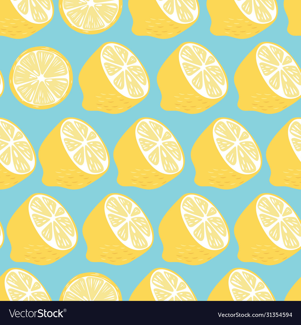 Fruit seamless pattern lemon halves and slices