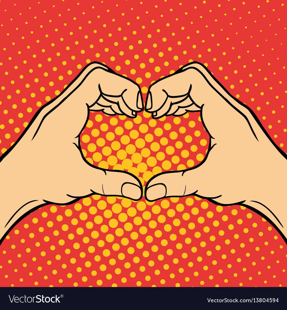 Hand showing heart deaf-mute gesture human arm