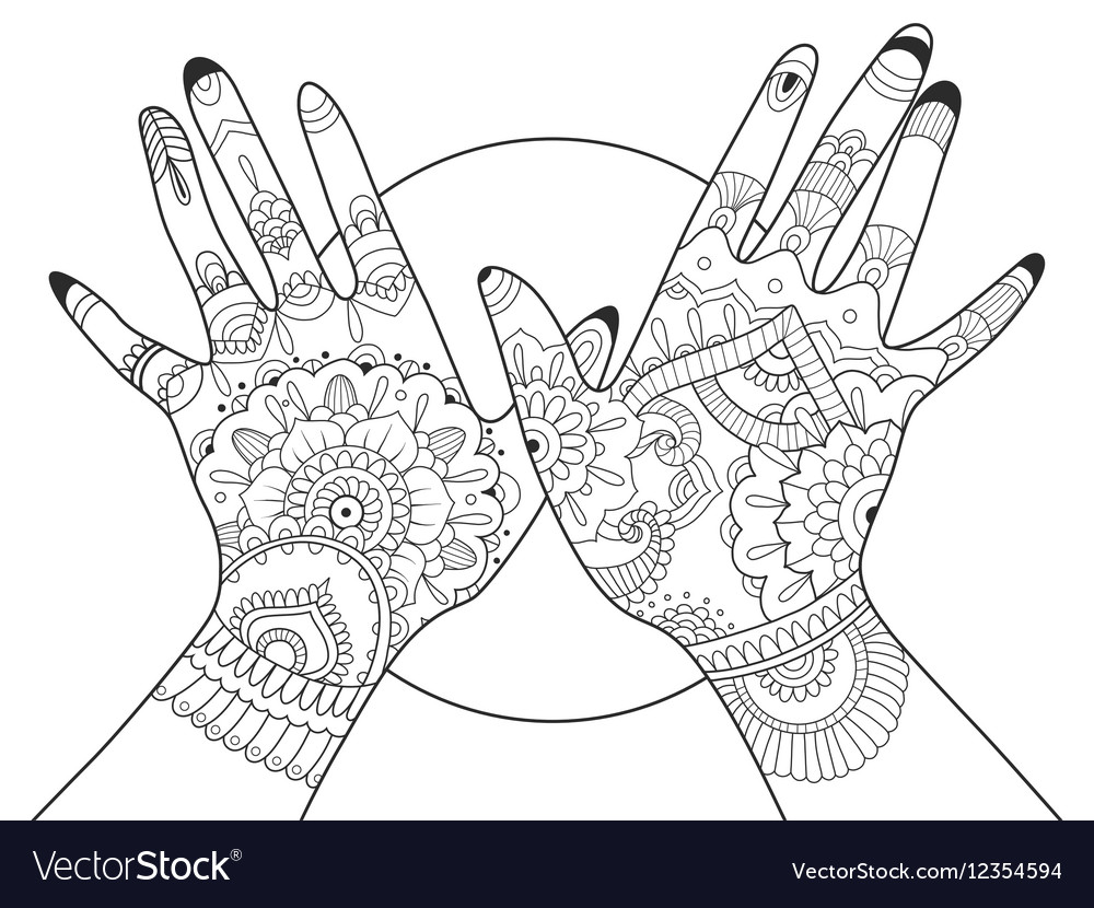 - Hands With Mehndi Drawing Coloring Book For Adults