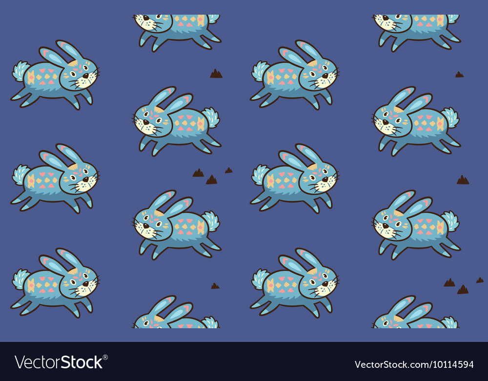 Indian seamless pattern of rabbit in