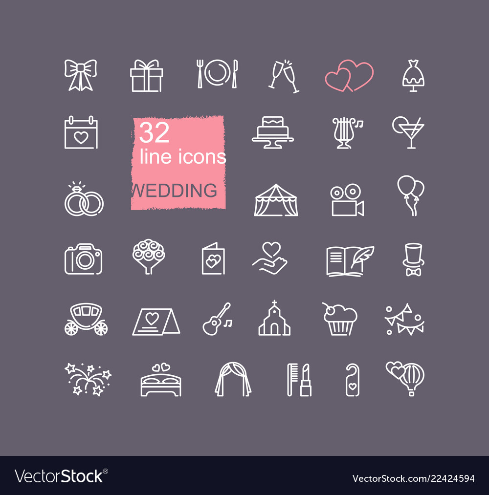 Linear icons on the theme of the wedding