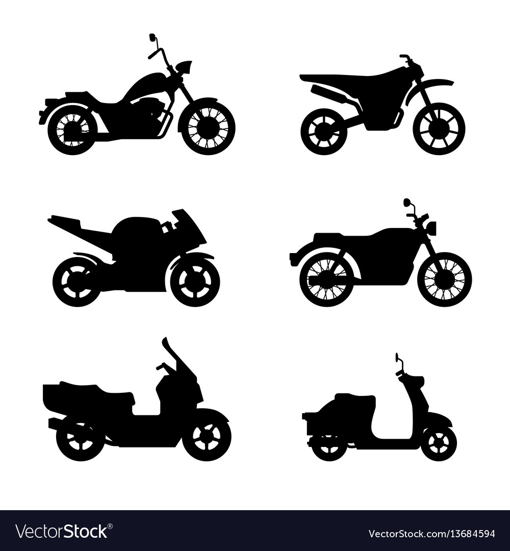 Motorcycles and scooters black silhouettes