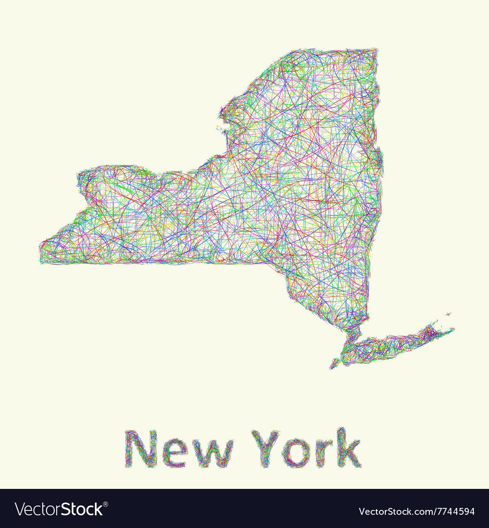 New York state line art map