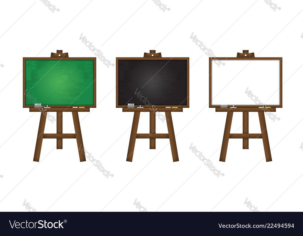 Set of realistic blackboard greenboard and