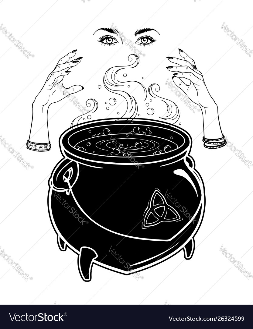 Boiling magic cauldron and witch hands