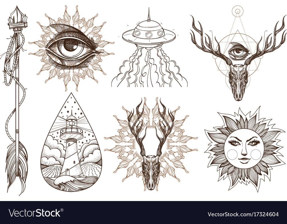 Arrows magic eye horns ufo a set of elements in