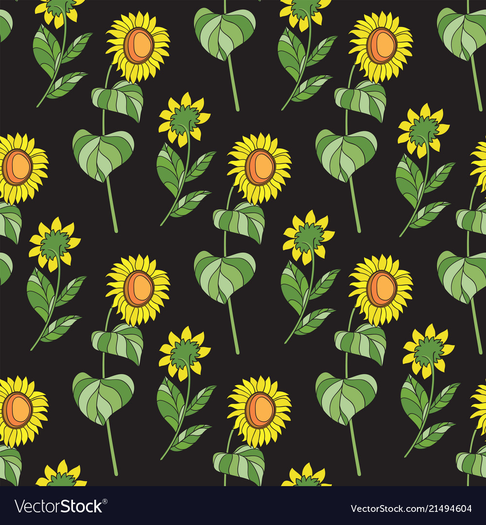 black floral seamless pattern sunflower vector 21494604