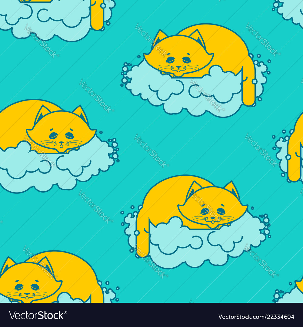 Cat sleeps on cloud pattern soft fluffy pet and