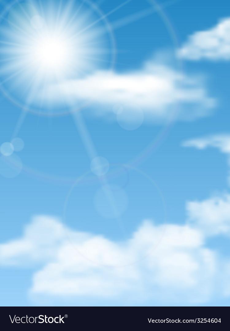 Cloudscape sun sky vector image