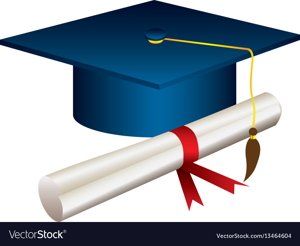 color graduation hat with diploma royalty free vector image