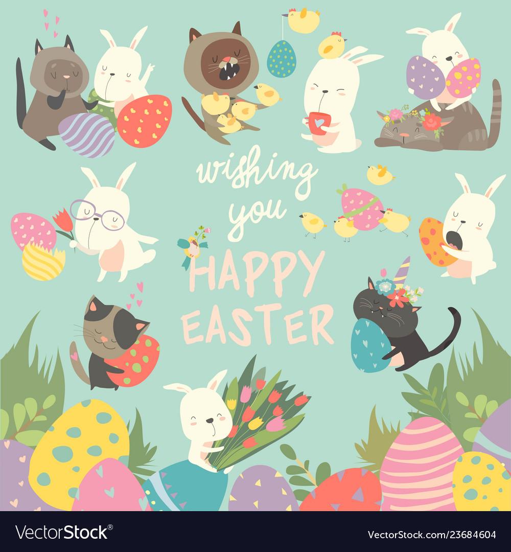 Easter set with bunnyeggsrabbitflowerscats