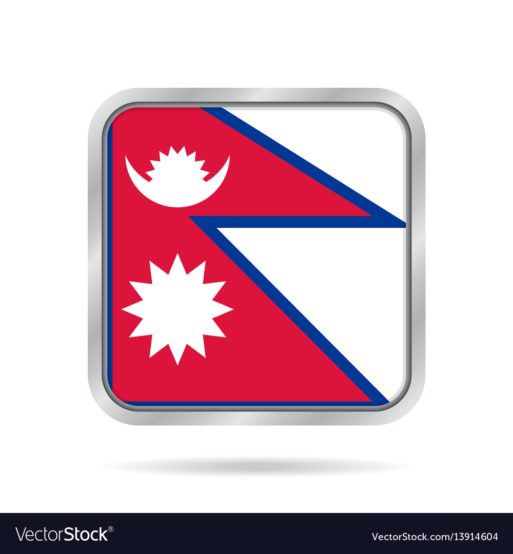 Flag of nepal shiny metallic gray square button