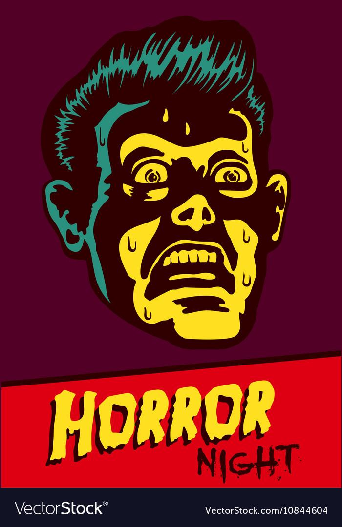Halloween party horror movie night flyer design vector image