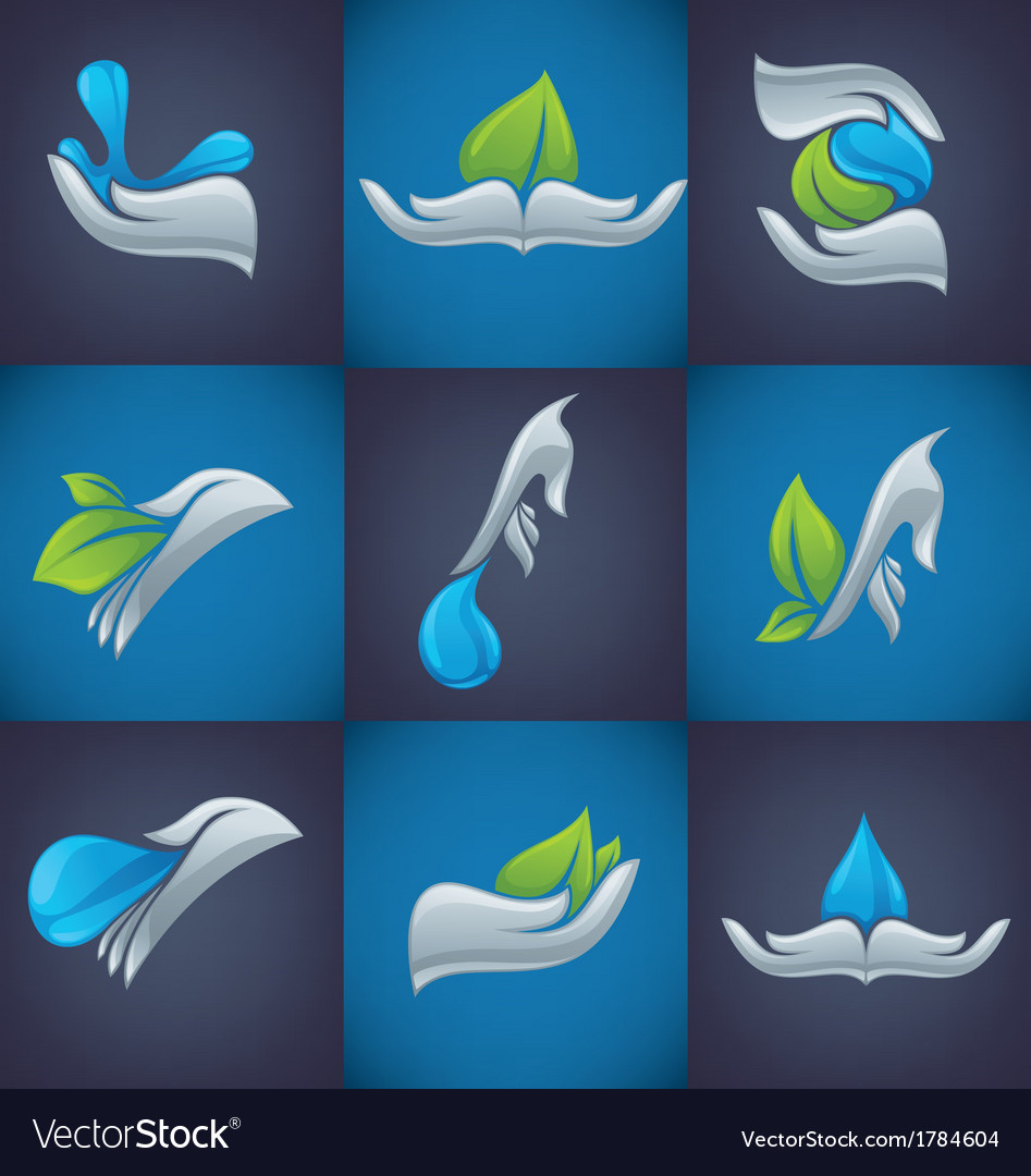 Hands and nature symbols vector image