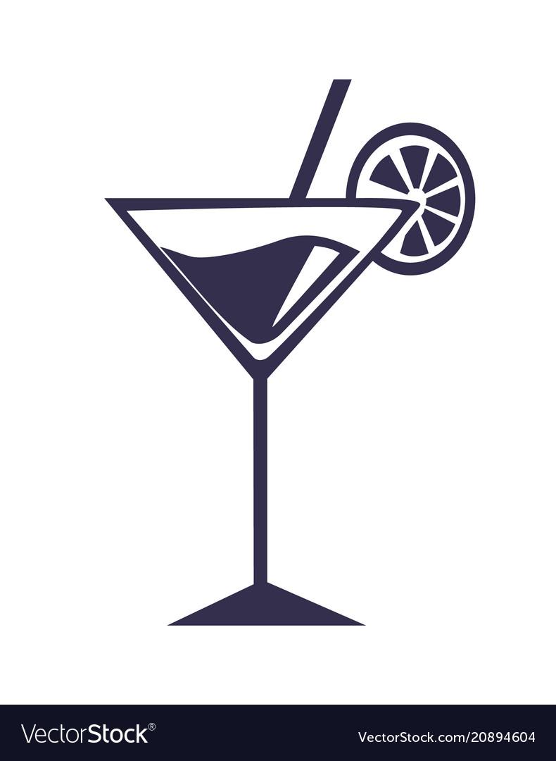 Martini cocktail with straw orange slice