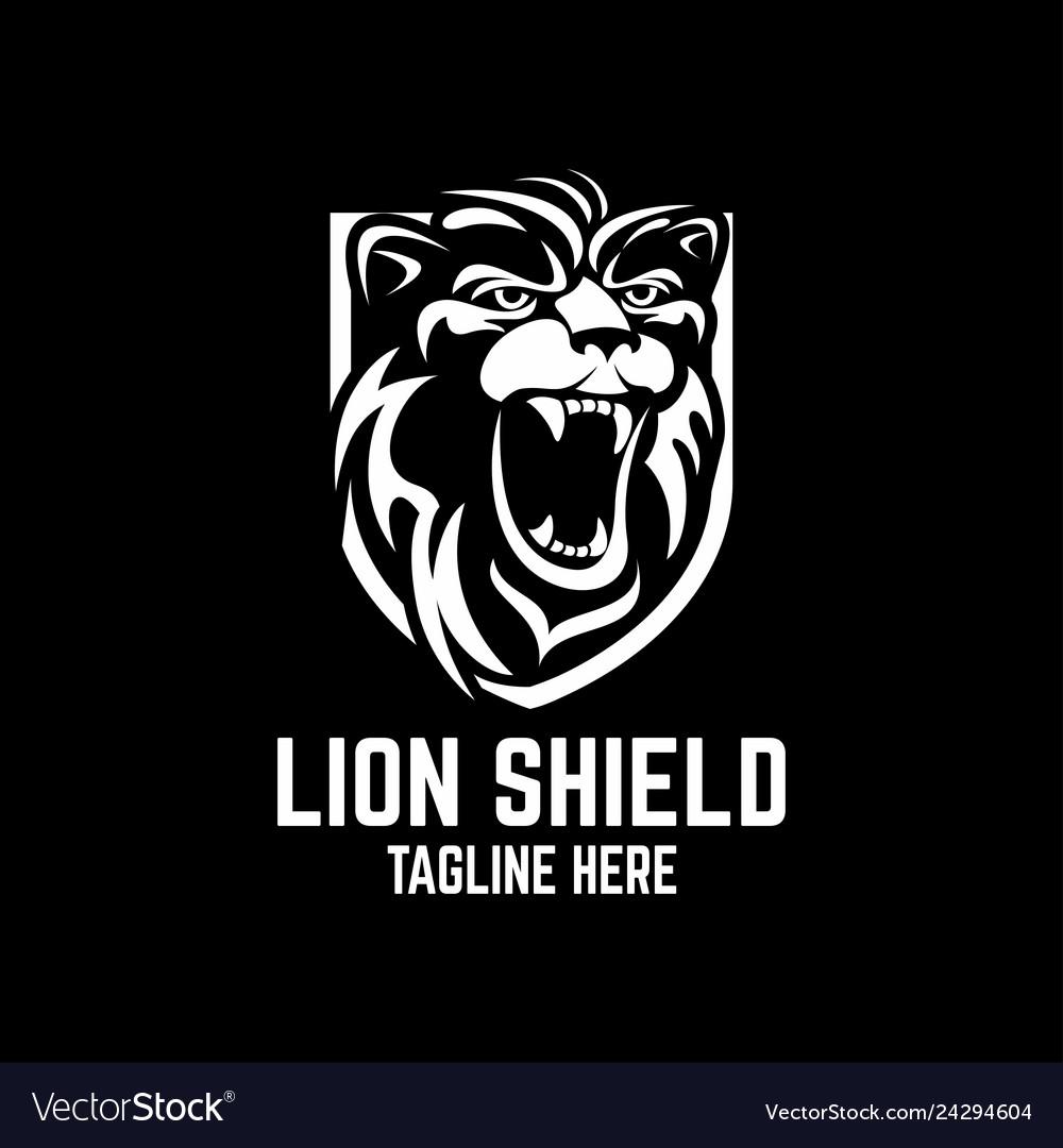 Modern lion shield logo