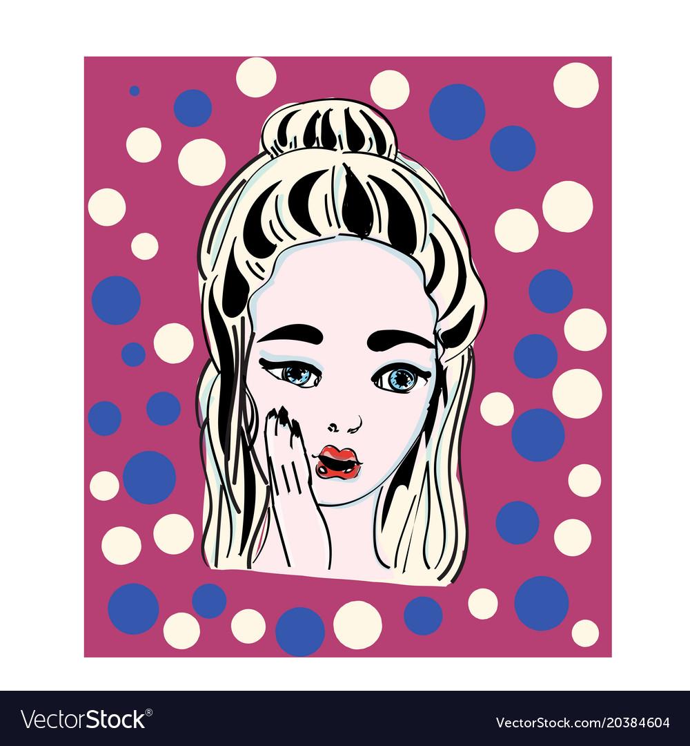Pop art surprised girlcomic woman vector image
