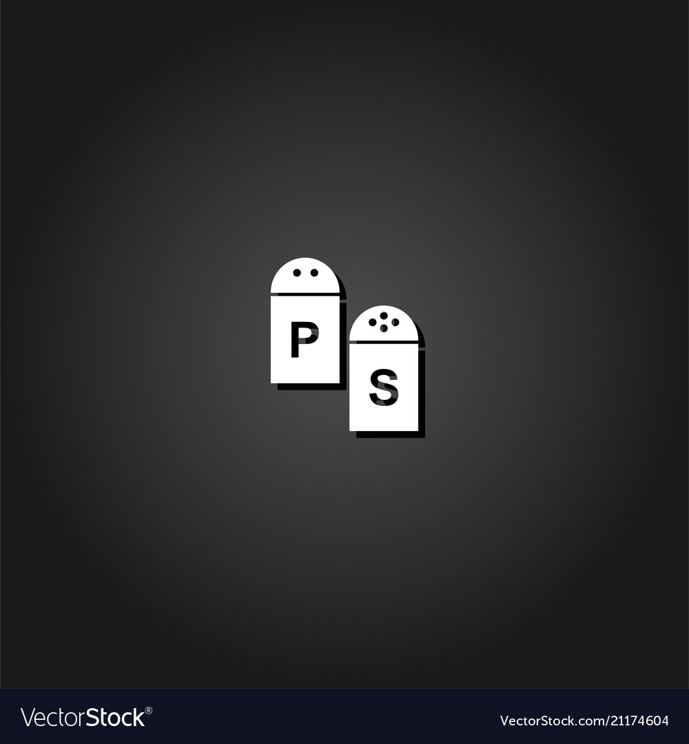 Salt and pepper icon flat