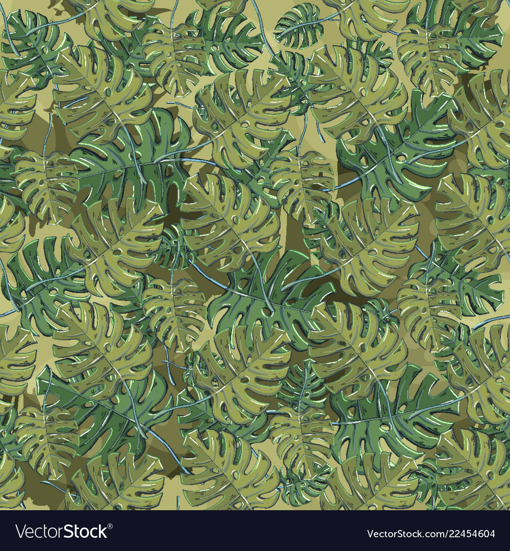 Seamless pattern with floral monstera leaf