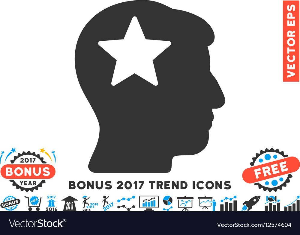 Star Head Flat Icon With 2017 Bonus Trend vector image