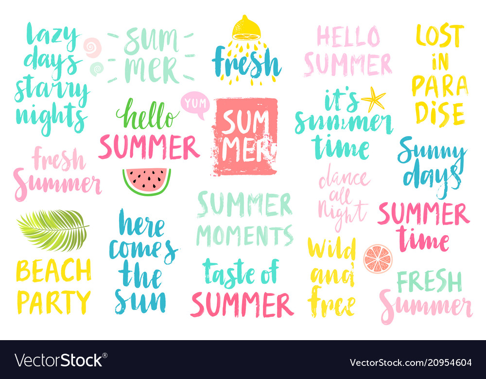 Summer lettering design set - hand drawn
