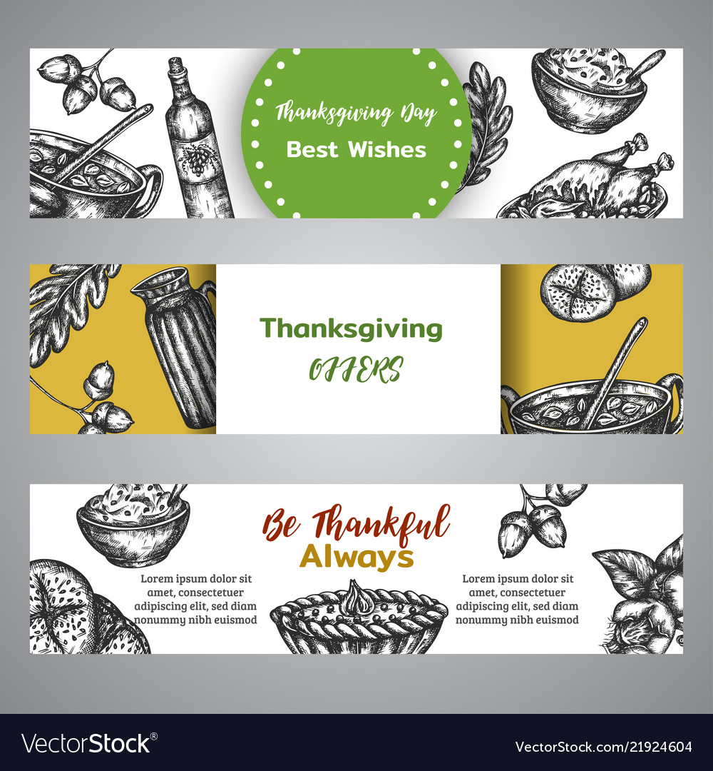 Thanksgiving day banners collection hand drawn