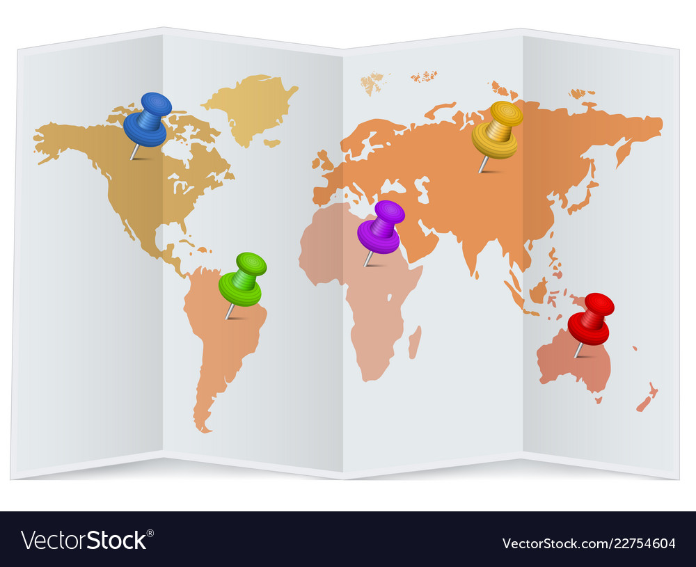 world map with multicolored pins royalty free vector image