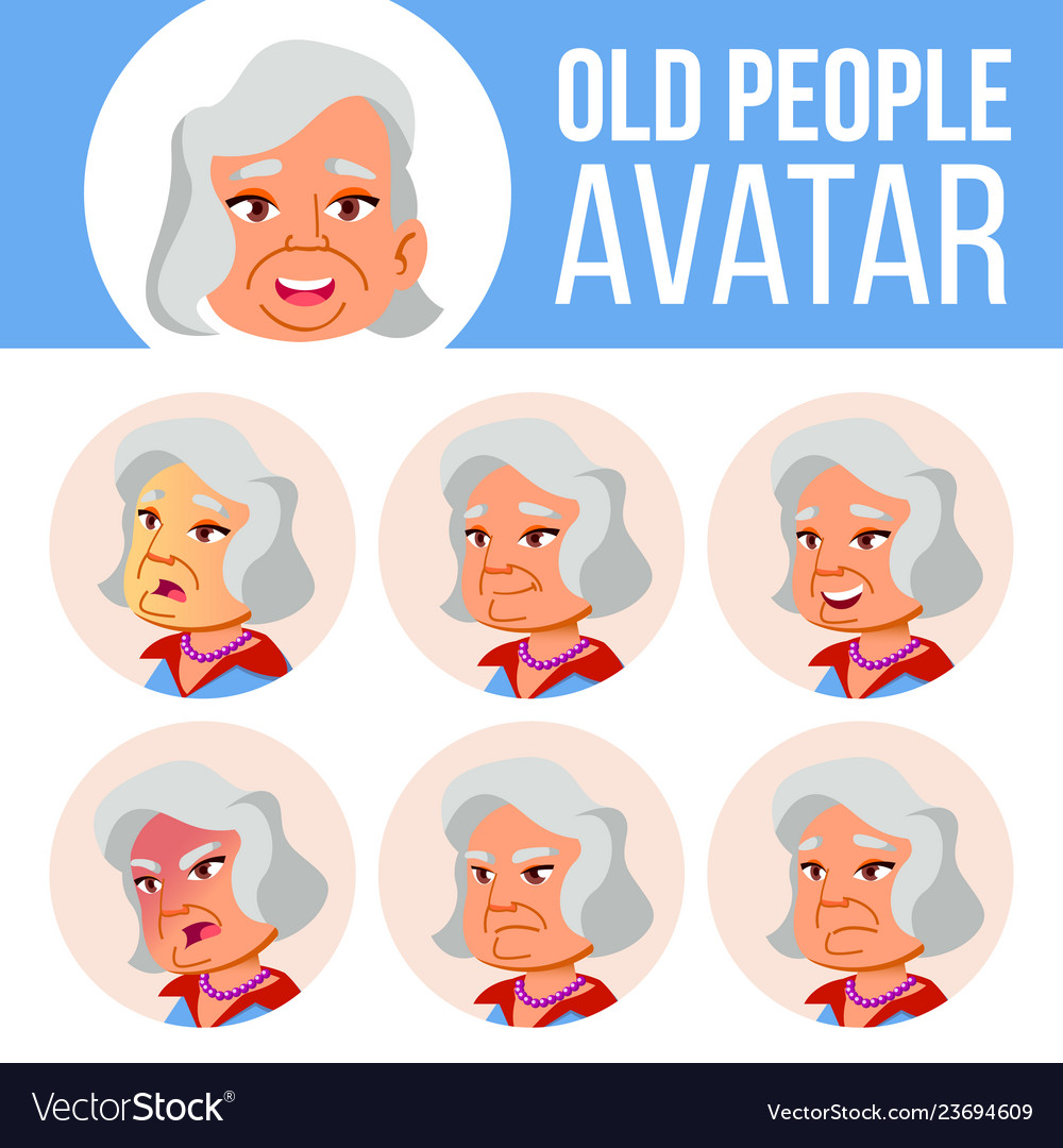 Asian old woman avatar set face emotions