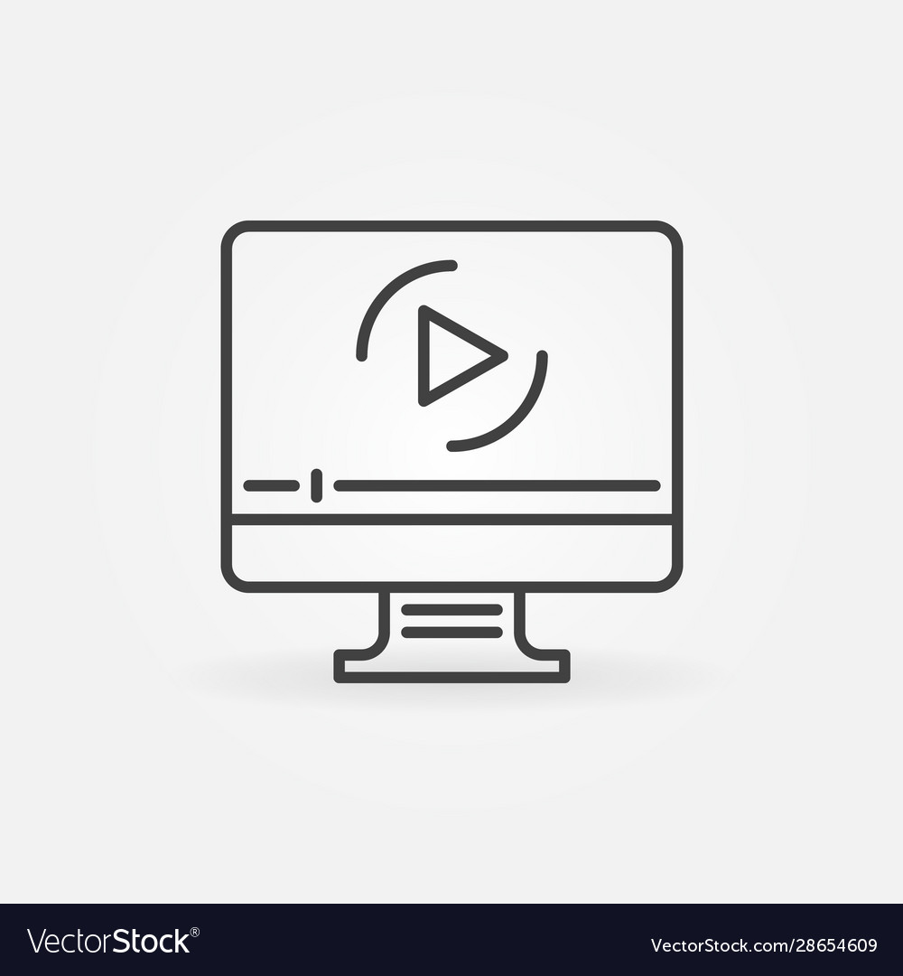 Computer with online video outline icon
