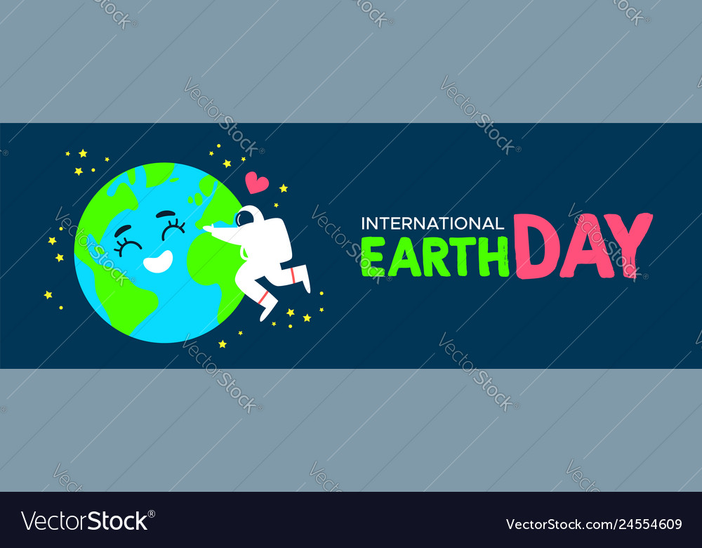 Earth day banner of astronaut hugging planet