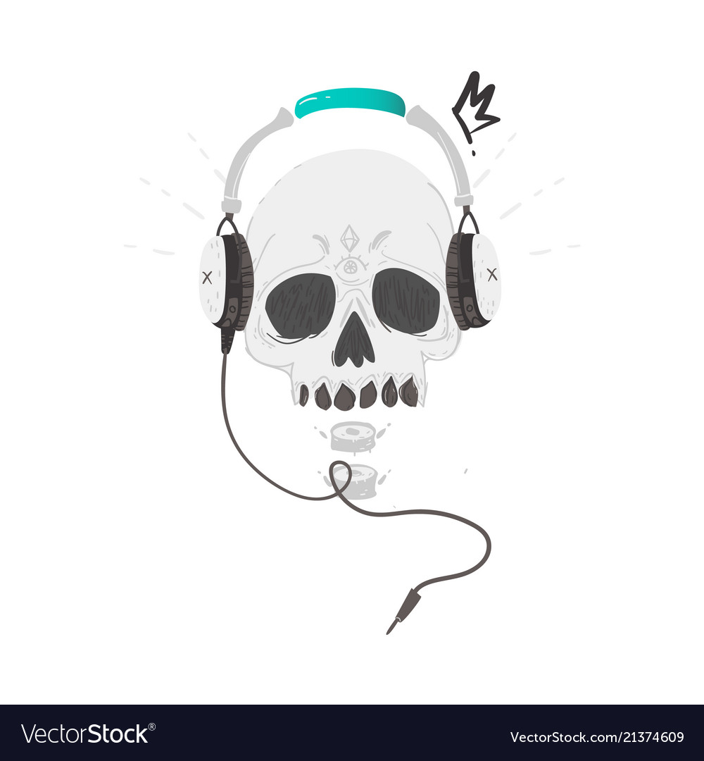 Human skull in headphones hipster rock music icon