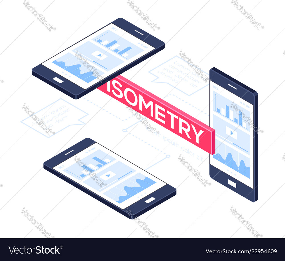 Isometric mobile phones - modern colorful
