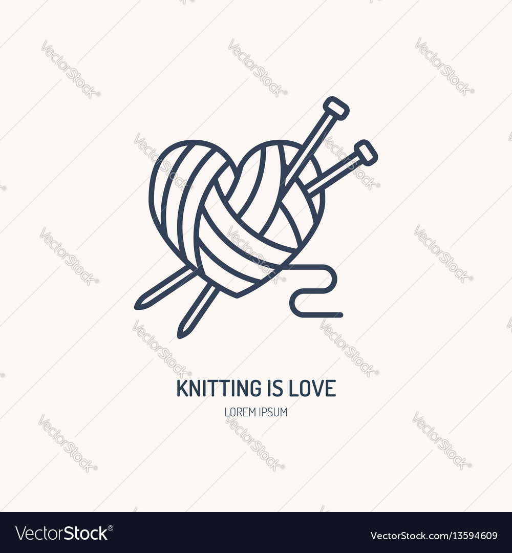 Knitting shop line logo yarn store flat sign