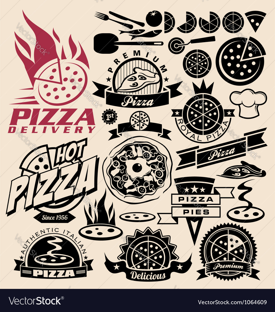 Pizza labels stamps logos and icons