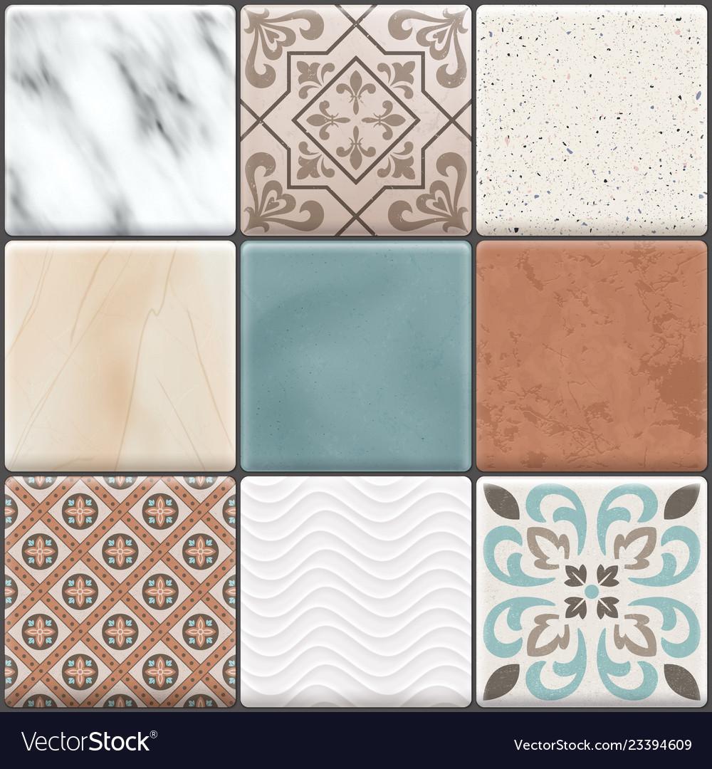 Realistic Ceramic Floor Tiles Icon Set